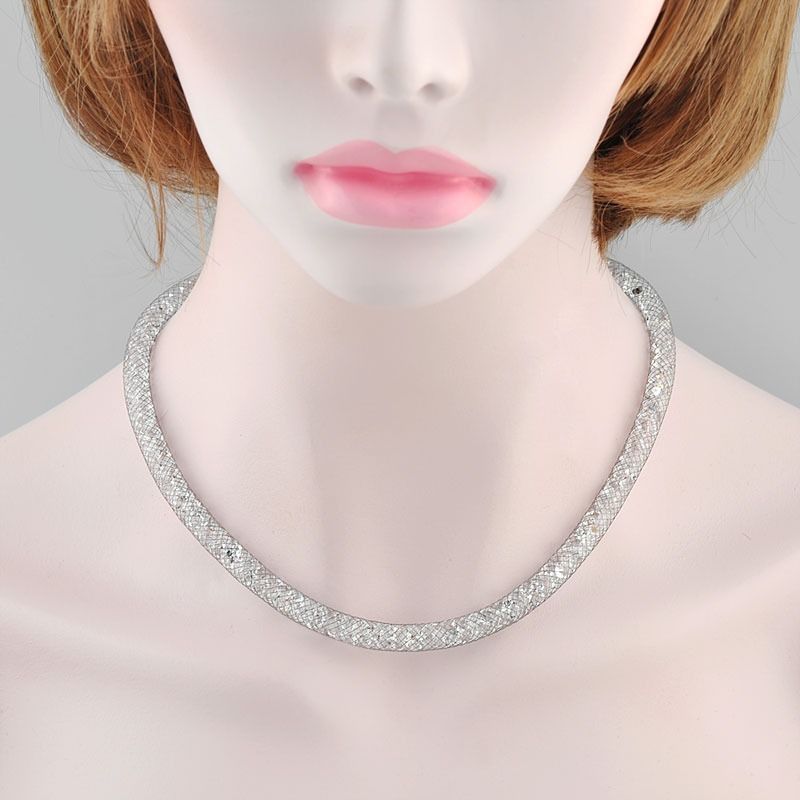 d9fd00e11a8 Stardust Swarovski Crystals Mesh Necklace Bracelet 18k Black Gold GP Gift  N730  Bearfamilybirth  Choker