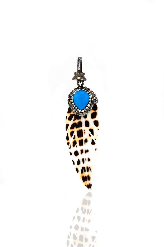Turkish natural shell pendant with marcasite by JOYANDRACHEL