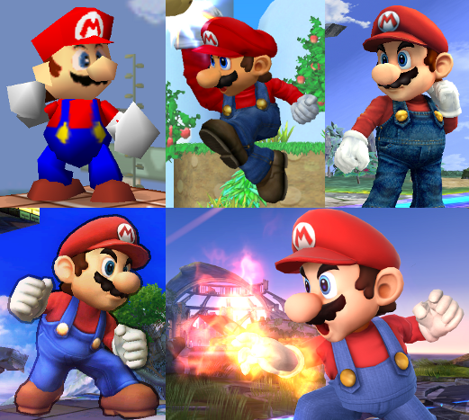 Mario as he appears in super smash bros, melee, brawl, and super
