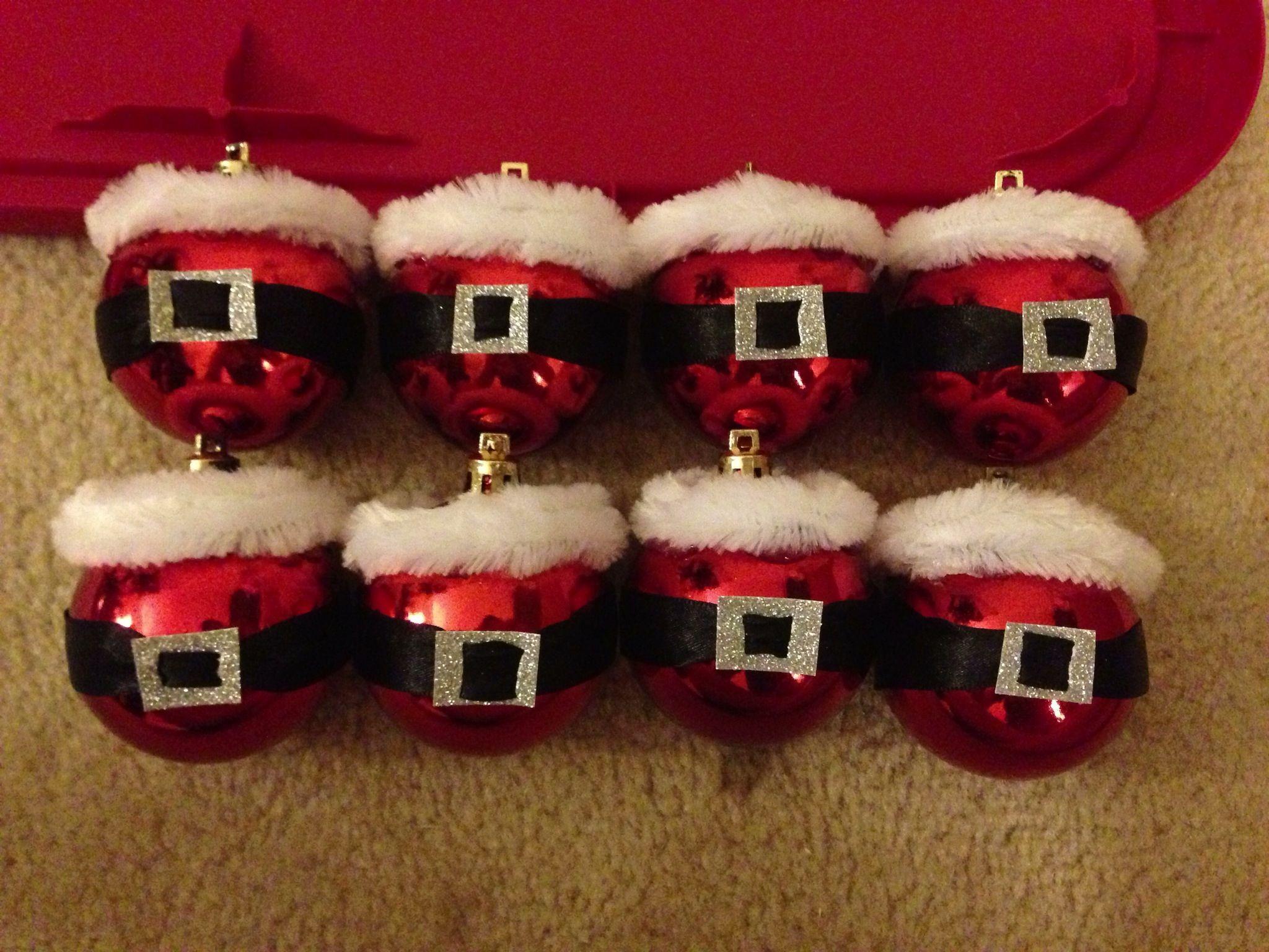 santa ornaments plain red dollar store ornaments black ribbon for the belt sparkly - Santa Claus Belt
