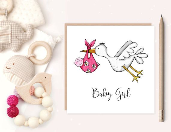 New-born Baby Inside Blank It/'s a Girl Stork Pink Stork Card New Baby Girl Card