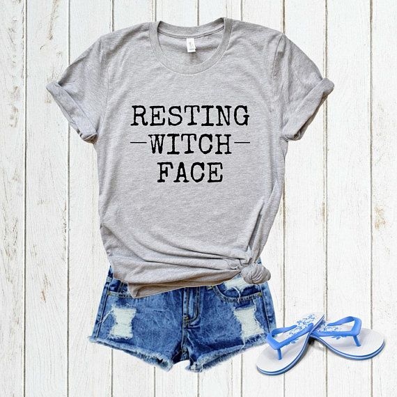 dd548c7286f Resting Witch Face Funny Graphic Tee Women Halloween Shirt Witch Tshirt Gym T  Shirt Yoga Top Unisex Fall Festival Pumpkin Spice S-Plus Size