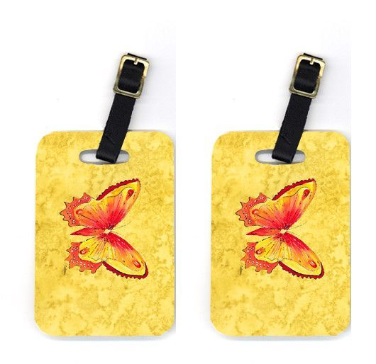 Pair of Butterfly on Yellow Luggage Tags