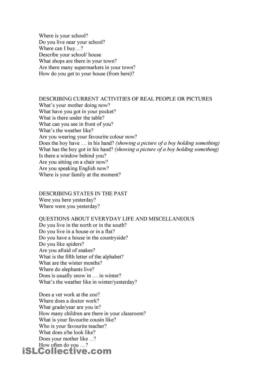 Trinity Questions Grade 3 Con Immagini Inglese Scuola Lingua