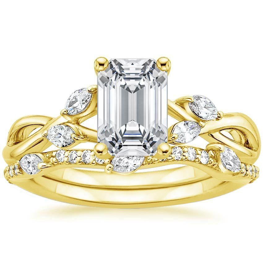 18K Yellow Gold Willow Diamond Ring with Luxe Willow Diamond Wedding Ring (1/3 ct. tw.) from Brilliant Earth