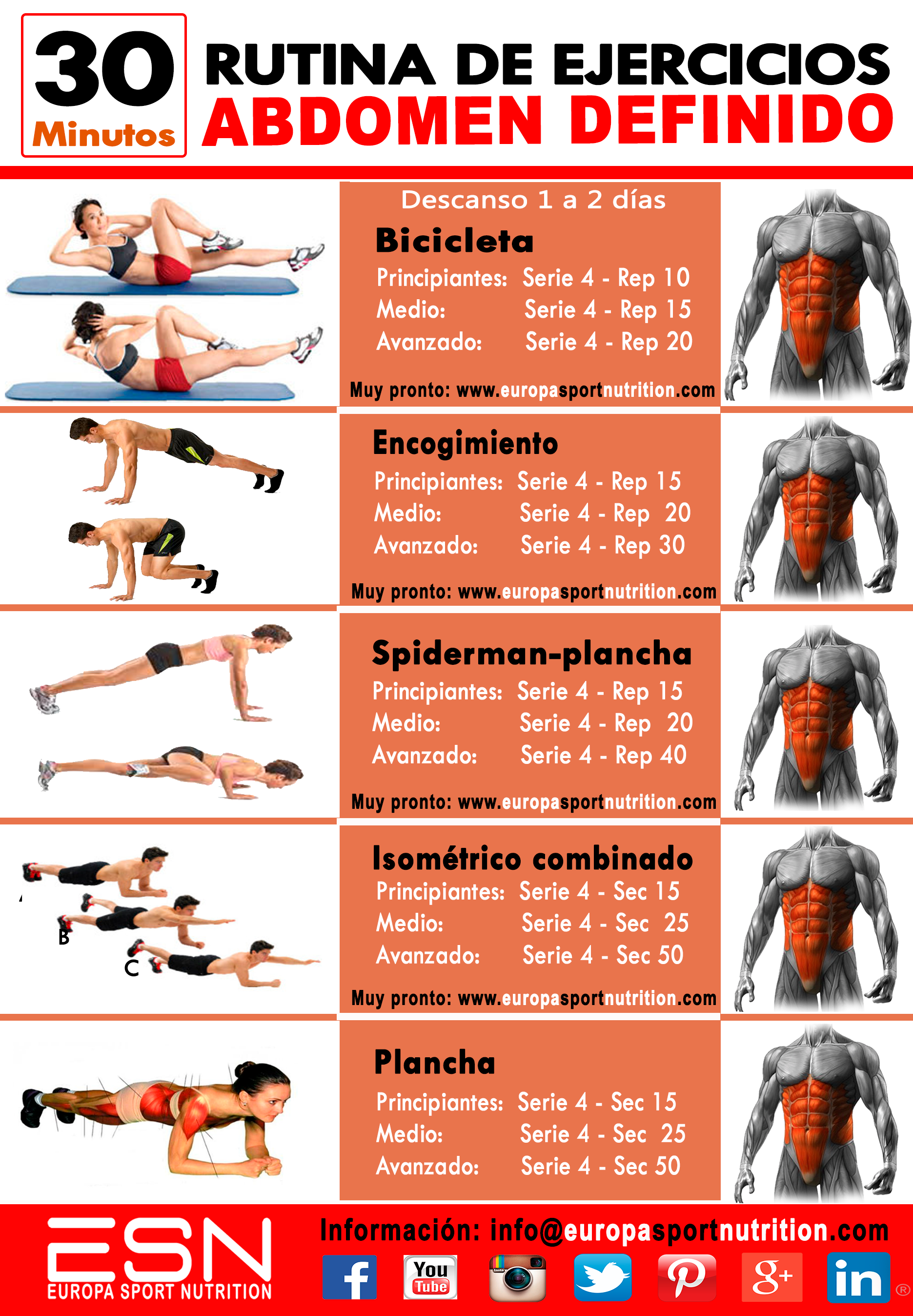 Abdomen definido rutina de ejercicios de 30 minutos for Dieta gimnasio