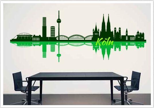 Wandtattoo Skyline Köln mehrfarbig Skyline Köln