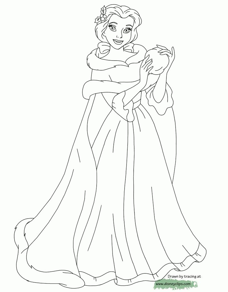 Princess Belle Christmas Coloring Pages Amazing Design