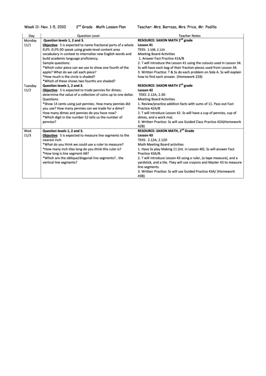 Need a 2nd Grade Math Lesson Plan? Here's a free template! Create