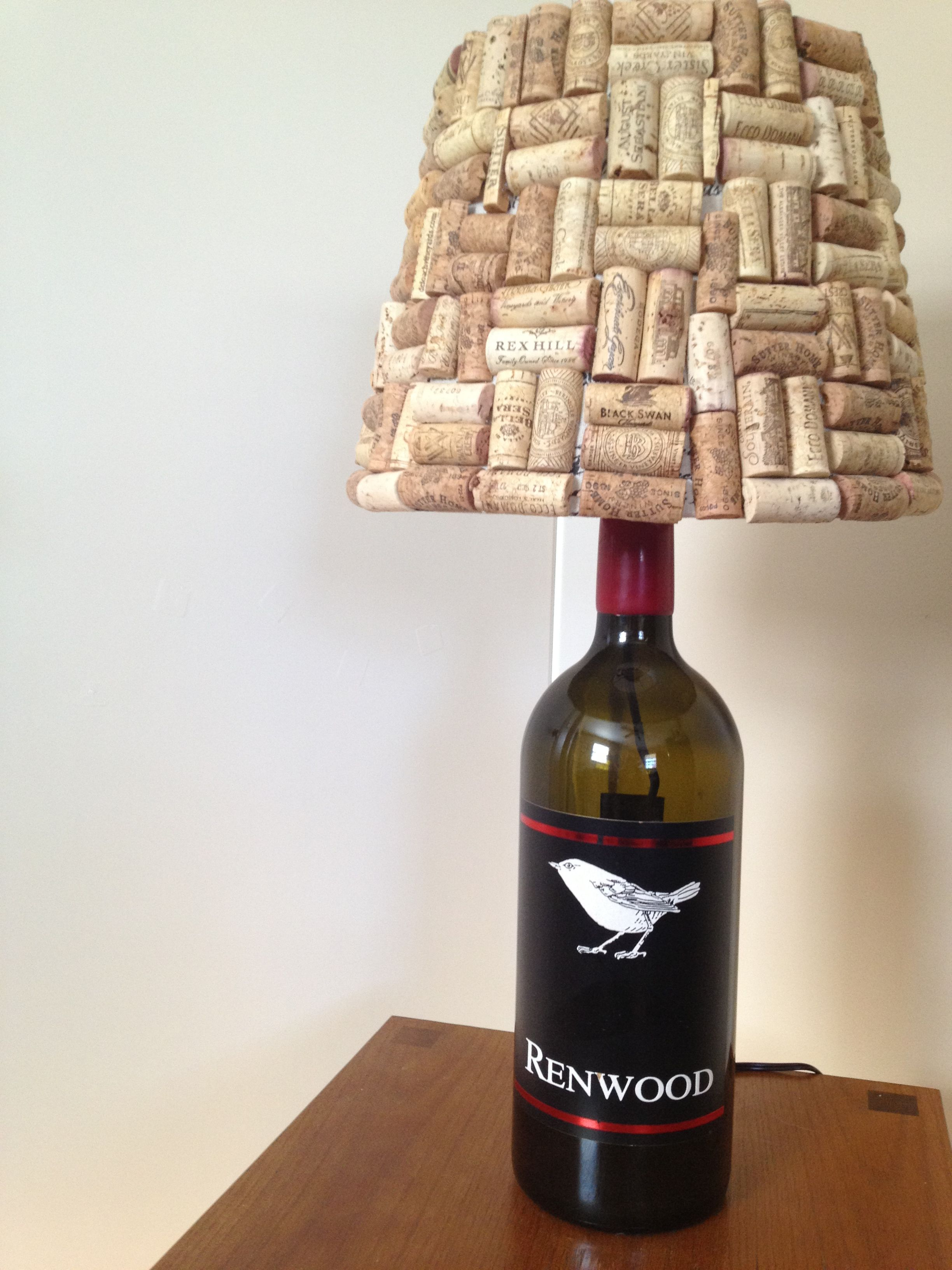 Wine Bottle Lamp With Cork Covered Lamp Shade 2012 Lamp Shade
