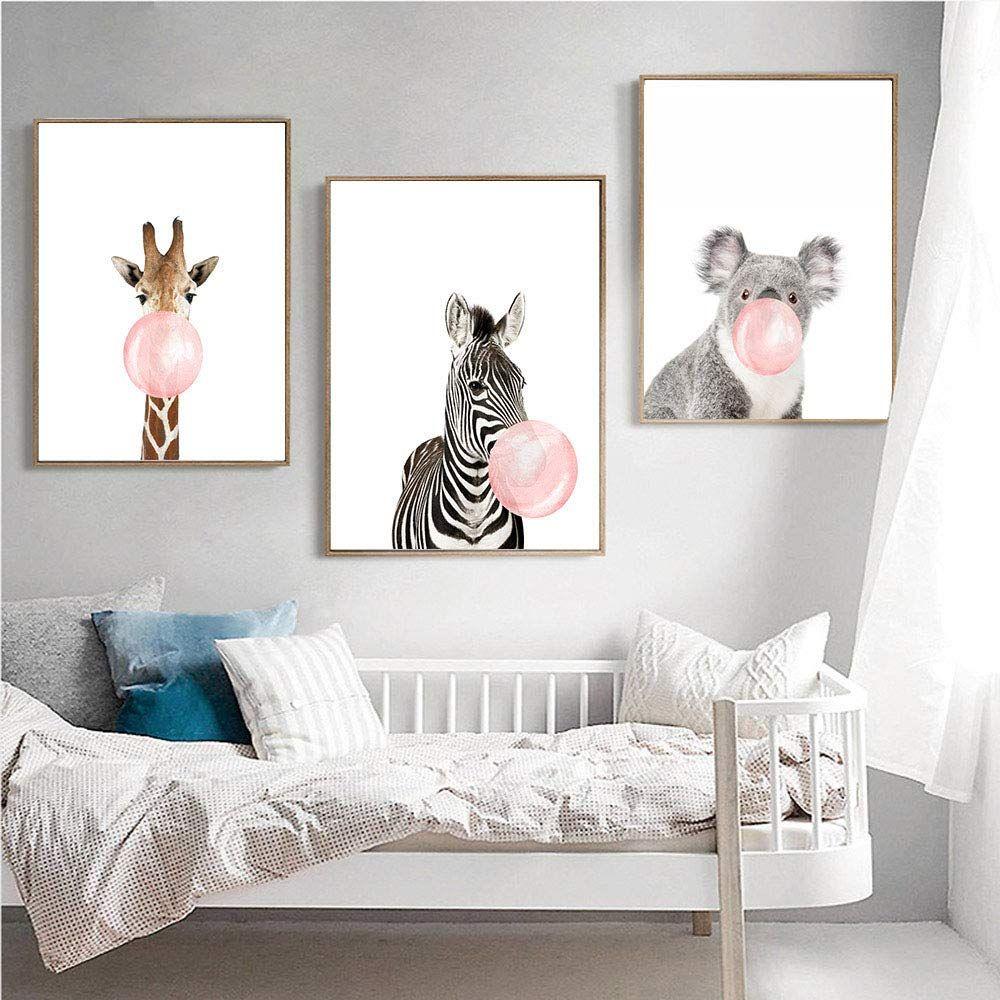 Nordic Ideas Set de 12 Posters Animaux Girafe Zèbre Cerf Koala ...