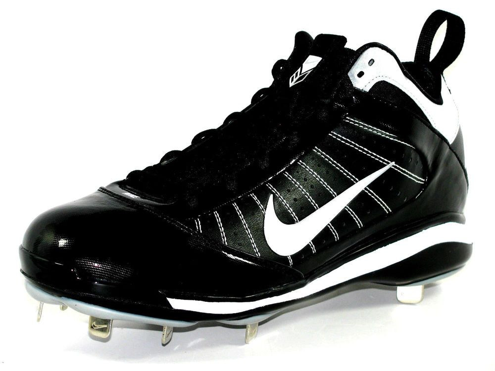 New Mens Nike Diamond Elite Mid Metal Baseball Cleats Size 10 Black/White