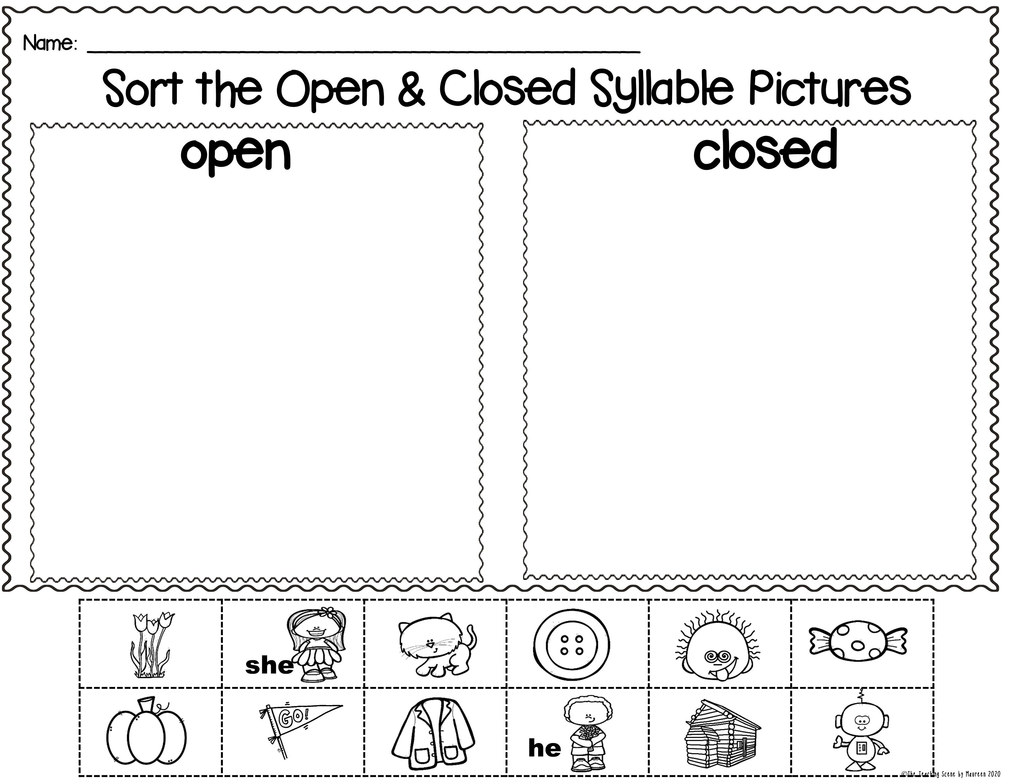 Open Closed Syllables Packet Picture Word Cards Sorting Mats Worksheets Closed Syllables Syllable Worksheet Multisyllable Words Open closed syllable worksheets