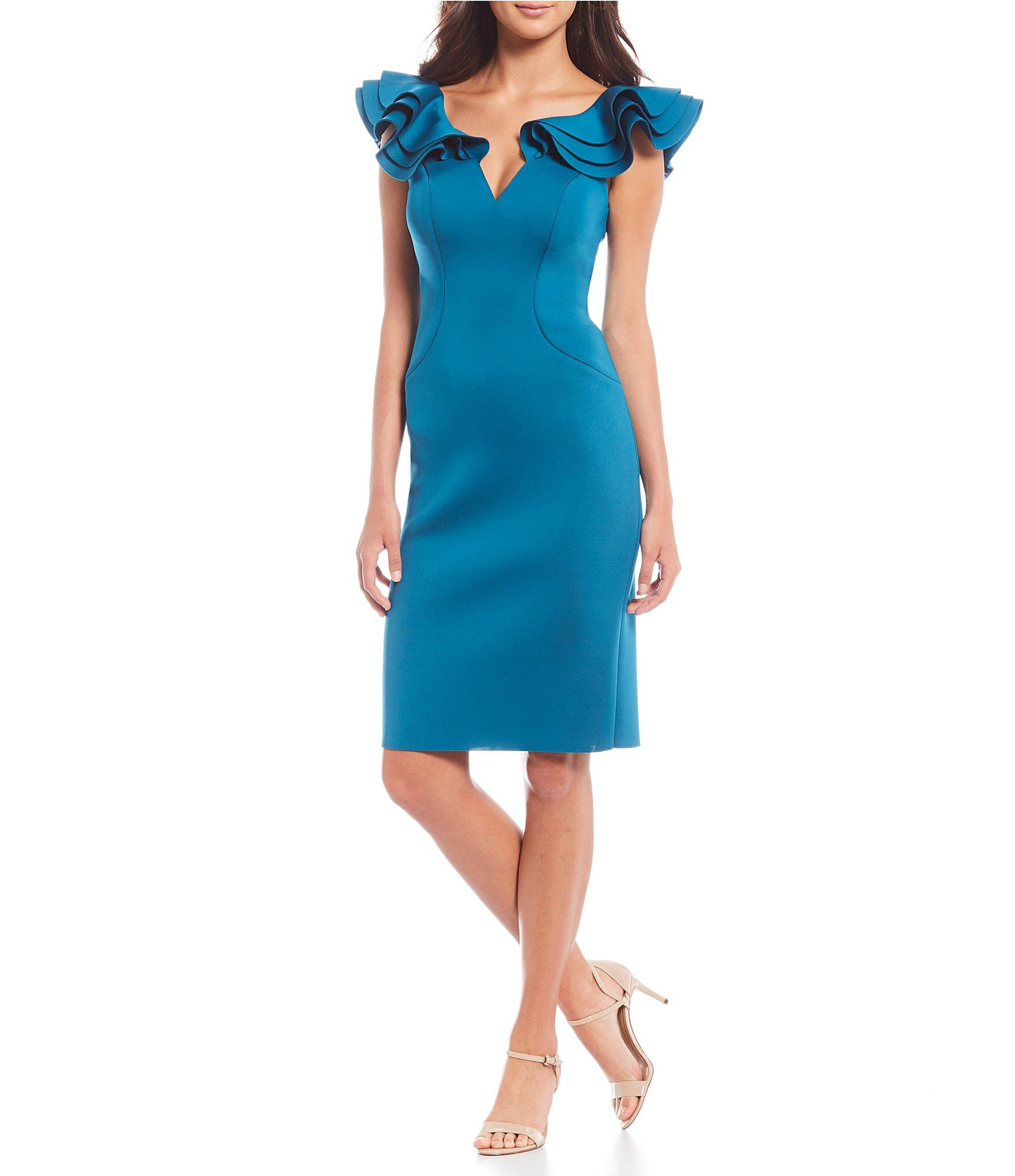 Eliza J Ruffle Sleeve Plunge Neck Scuba Sheath Dress Dillards Guest Attire Wedding Attire Guest Casual Wedding Guest Dresses [ 2040 x 1760 Pixel ]