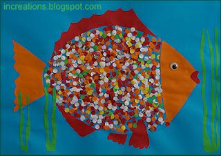 Collage: Fishie with paper punch scales