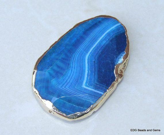 Blue Agate Geode Druzy Oval Pendant 57mm