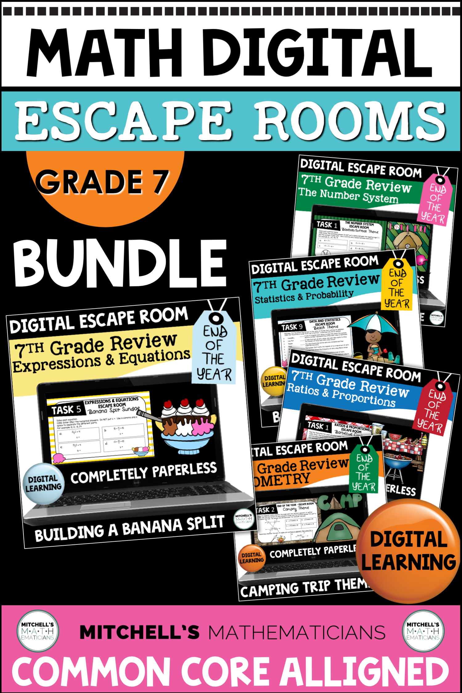 Digital Escape Rooms BUNDLE | 7th Grade Math | Distance ...