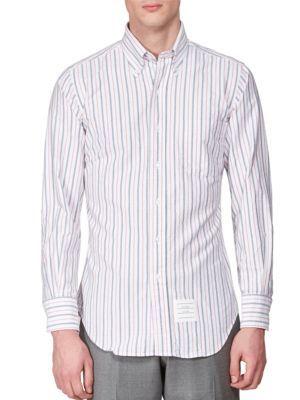 THOM BROWNE Striped Cotton Blend Shirt. #thombrowne #cloth #shirt