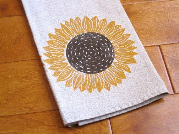 Hand Printed Linen Tea Towel Linocut Sunflower Kitchen Bathroom Hand Printed Linen Printed Tea Towel Linocut