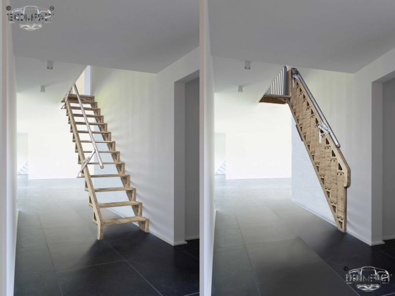 Best Bcompact's Hybrid Stairs Fold Flat To Provide More Living Space Loft Stairs Retractable 400 x 300