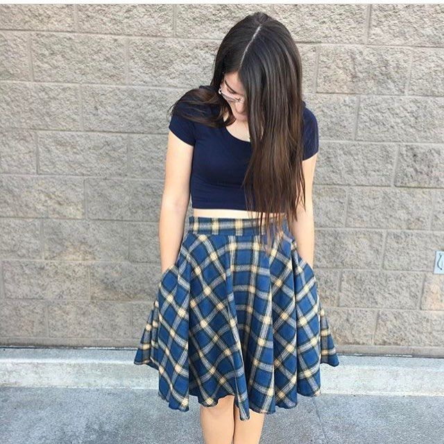 I love how @love_my_moos paired this flannel Ravenclaw-esque skirt with a cropped top! So casual and cute. I'll definitely be stealing that idea this summer☺. #damselduds #circleskirt #ootd #ravenclaw #disneybound #ravenclawasthetic #harrypotter #fashion #style #cuteandcasual #shopsmall #etsy #etsyshop #supporthandmade
