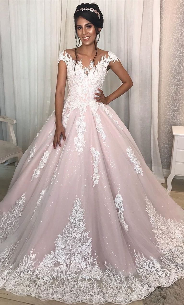 Princess Cap Sleeves A Line Long Pink Wedding Dress With Lace In 2020 Purple Wedding Dress Sparkly Wedding Dress Amazing Wedding Dress [ 1272 x 767 Pixel ]