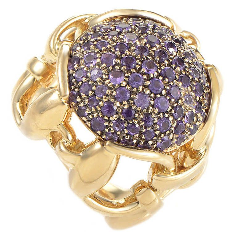 9a873bf07ec Gucci Amethyst Pave Yellow Gold Horsebit Ring