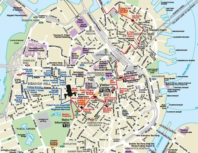Printable Map Of Boston Explore Walking Tours Places: Freedom Trail Boston Map At Slyspyder.com