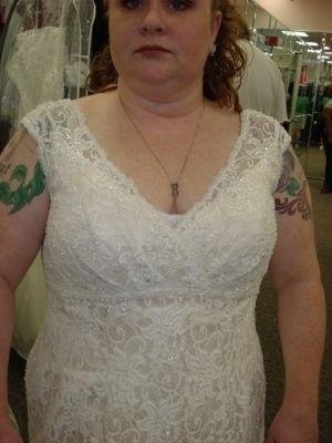 David's Bridal Plus Size Wedding Gown Empire Waist Wedding Dress $324