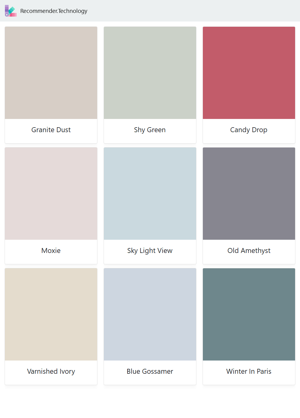 Granite Dust Moxie Varnished Ivory Shy Green Sky Light View Blue Gossamer Candy Drop Old Amethyst Win Behr Colors Behr Color Palettes Behr Paint Colors