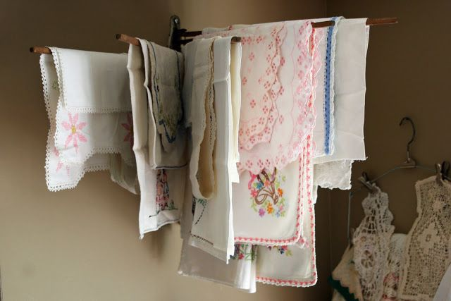 Use drying rack for doilies and scrap cloth pieces