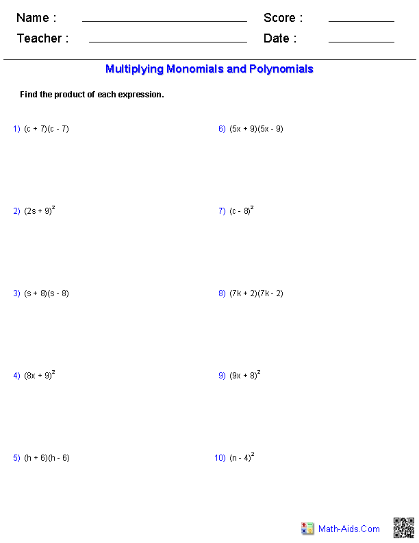 Multiplying Special Case Polynomials Worksheets Math Aids