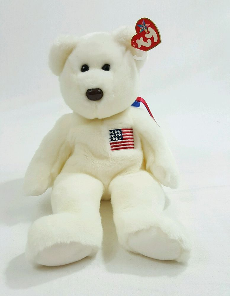004a674e0d4 Libearty the Beanie Baby White TY Beanie Baby Bear 2000 in Toys   Hobbies