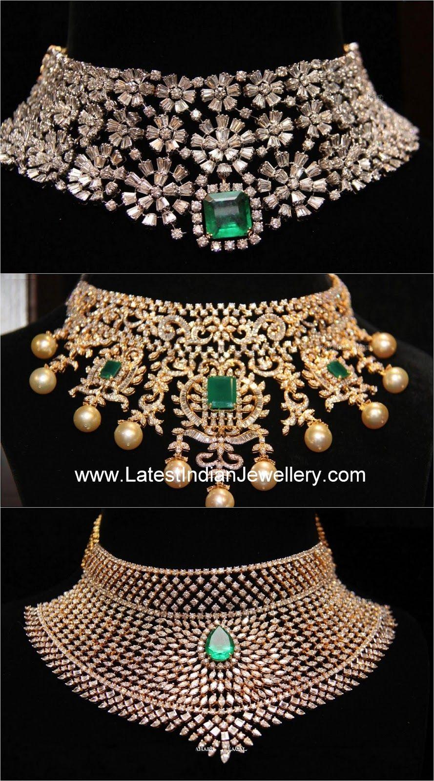 Heavy diamond choker designs jewellery pinterest diamond