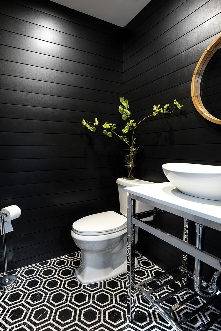 Create a Modern Powder Room Using Black Shiplap #modernpowderrooms