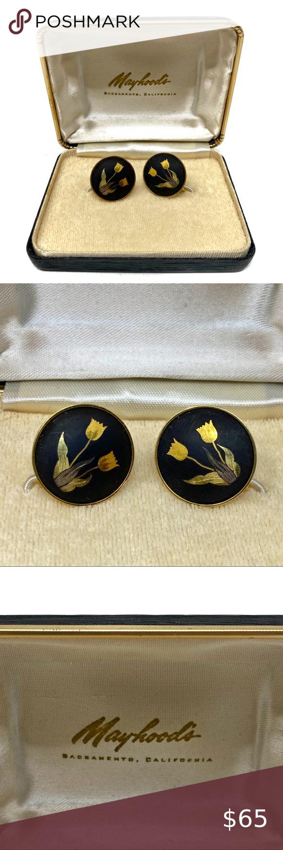 Vintage 1950s Amita Japan Damascene Screwback Earrings