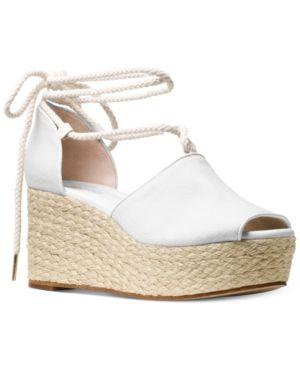 5cbd3676e9ae Michael Michael Kors Hasting Mid-Wedge Sandals - White 7.5M ...