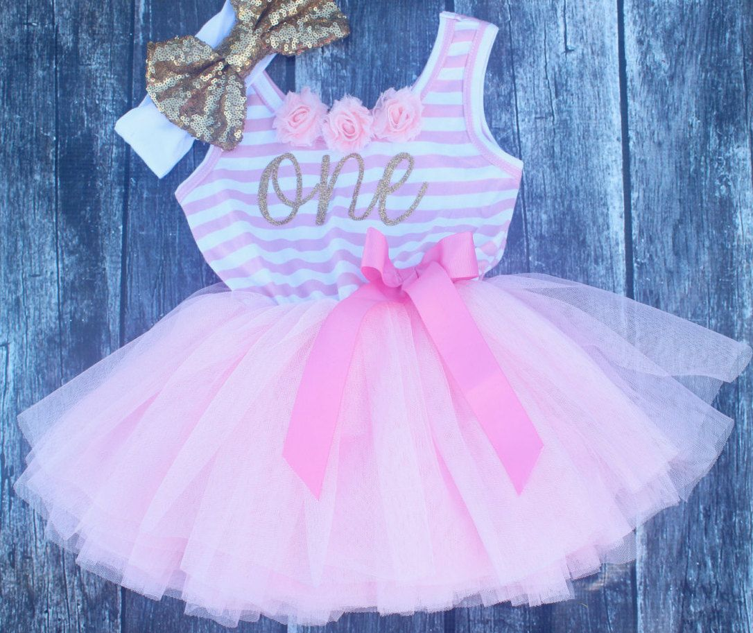 Pink first birthday dress, pink first birthday outfit, tutu skirt ...