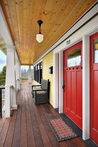 plank porch ceiling + red doors