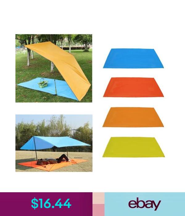 Camping Tent Tarp Awning Sun Shade Rainproof Shelter Picnic Canopy Mat Kit Black