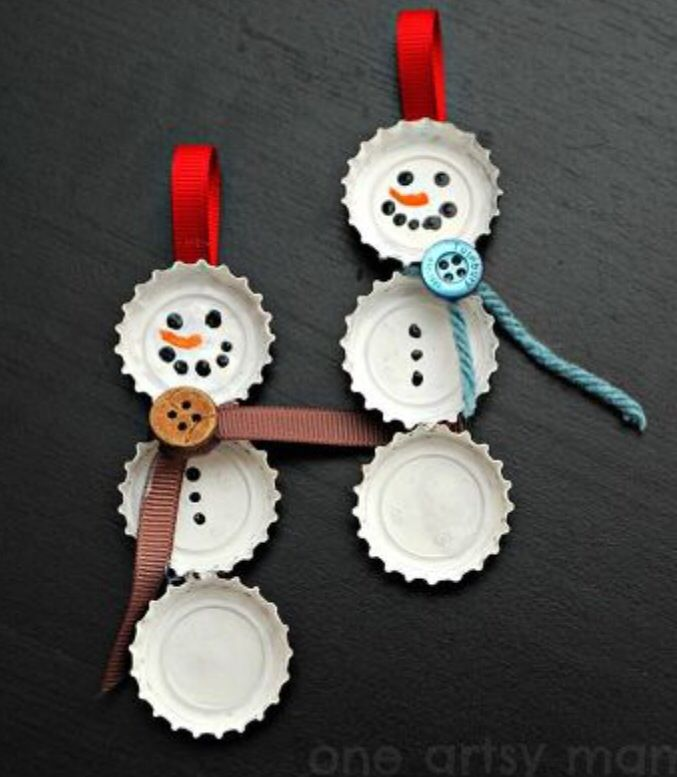 how to make christmas ornaments out of bottle caps