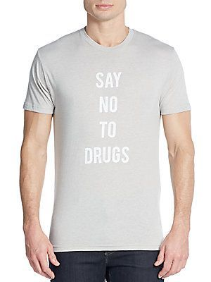 Kinetix No To Drugs Cotton Jersey Tee - Grey - Size