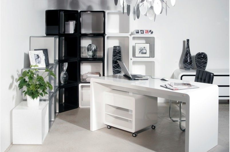 white modern office furniture. white wood office desk furniture with a clever touch black shelving for added modern
