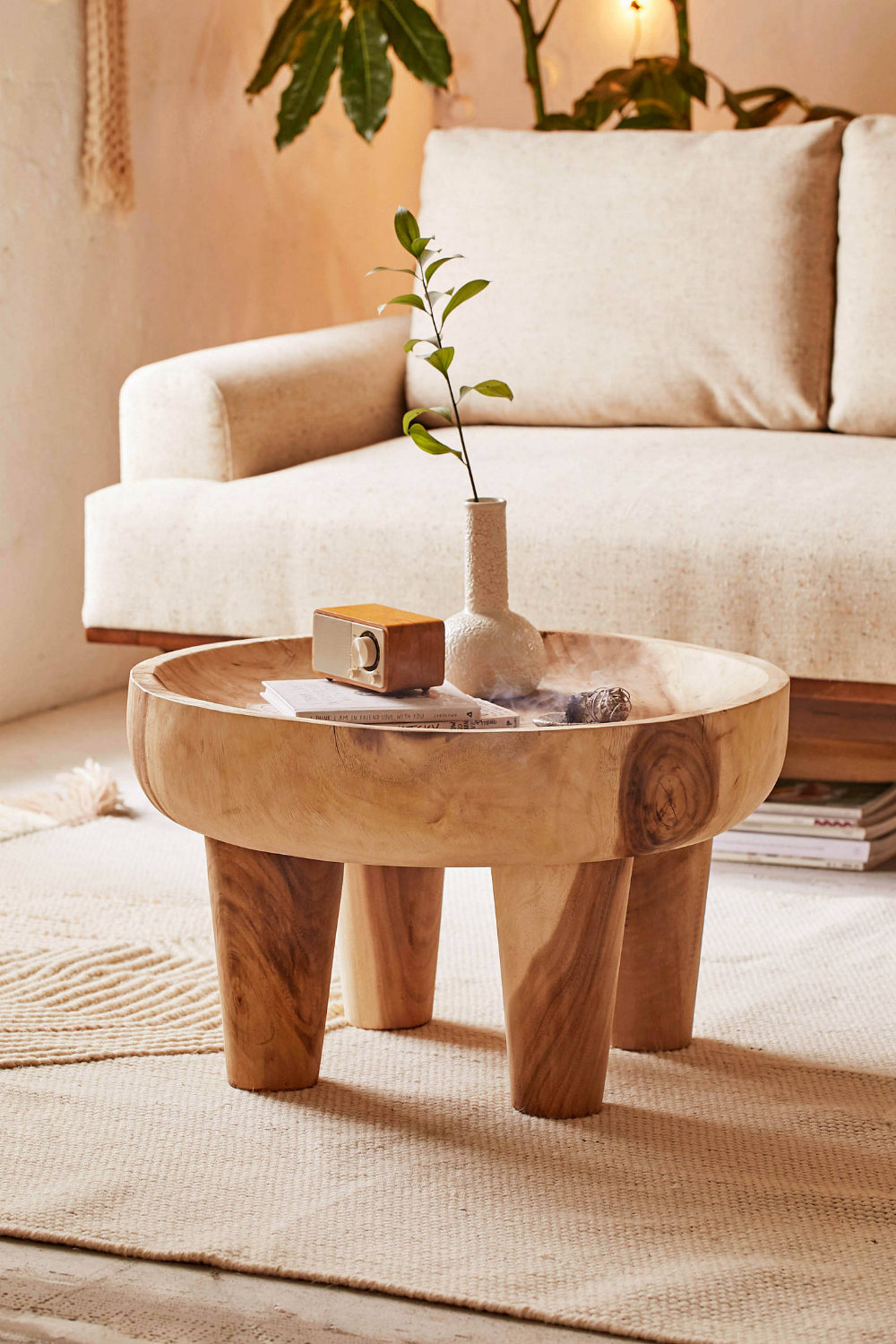 Kia Round Side Table Round wood side table, Round side