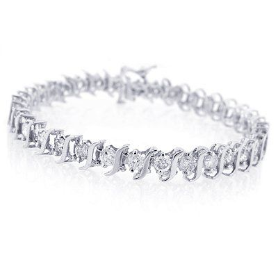 1 00ct Tdw Diamond S Link Tennis Bracelet In 14k White Gold 6 5 I J I2 I3 Buy Now Tennis Bracelet Diamond Bracelets Gold Diamond Diamonds Jewelry Bracelet