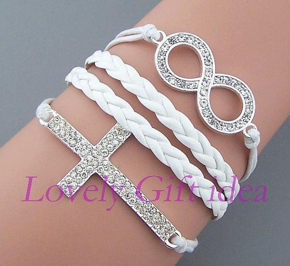 Shiny Diamond cross bracelet,Diamond infinity bracelet,silver charm,White string Crystal jewelry Rhinestone,bridesmaid gift wedding jewelry. by LovelyGiftidea, $4.99