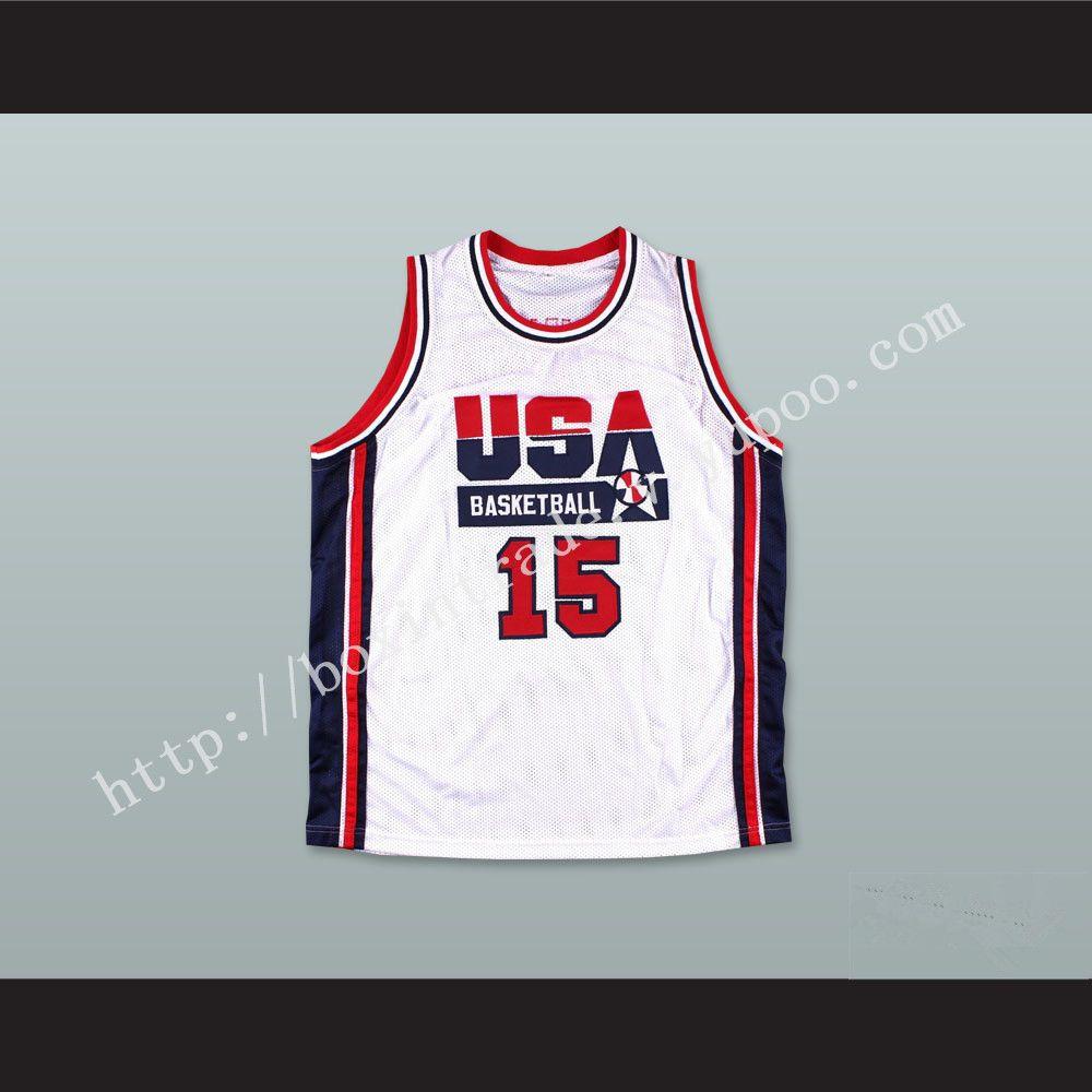 67039fd47325 1992 Magic Johnson 15 USA Team Home Basketball Jersey