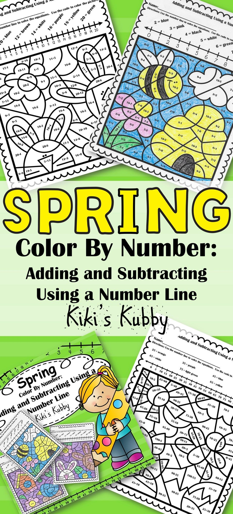 Spring: Color By Number Adding and Subtracting Using a Number Line ...