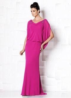 Trompete/Meerjungfrau-Linie U-Ausschnitt Sweep/Pinsel zug Chiffon Kleid für die Brautmutter mit Perlenstickerei