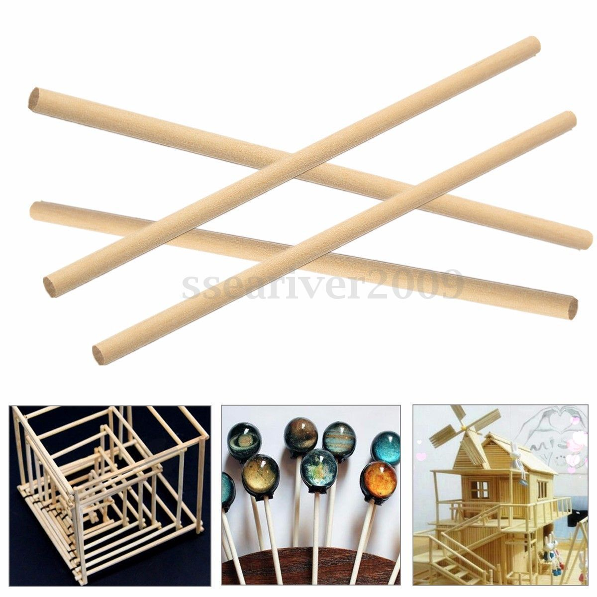 Round wooden sticks for crafts - 50pcs 150mm Round Wooden Lollipop Lolly Sticks Cake Dowels For Diy Food Crafts